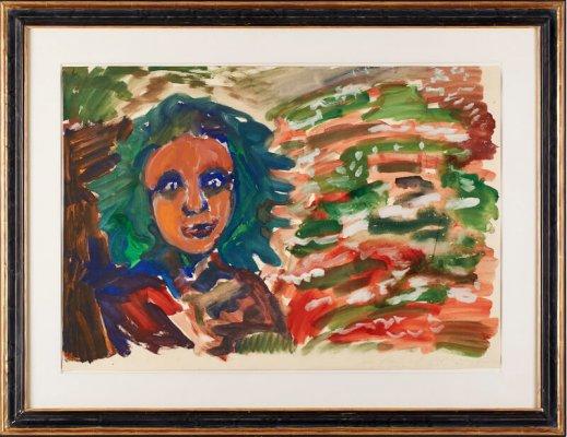 """A. R. Penck """"Mädchenkopf"""" u. re. sign., dat. u. mit Widmung Ralf 91, 68 x 99 cm"""