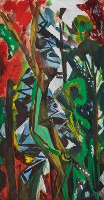 """Ernst Wilhelm Nay """"Aus dem Garten am Blauen Haus in Hofheim""""   u. re. sign. u. dat. EWNay 45, 31,5 x 16,5 cm"""