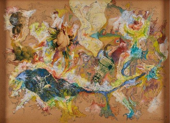 """Bernard Schultze """"Um ein Rinnsal fließende Erzählung""""  u. re. sign., dat. sowie mit dem Titel Bernhard Schultze 1964, 56 x 76,5 cm"""
