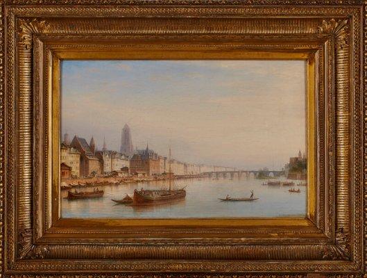 "Carl Morgenstern ""Blick über den Main auf Frankfurt""  u. re. sign. u. dat. C. Morgenstern 1869. Öl/Lwd., 37,2 x 58,6 cm"