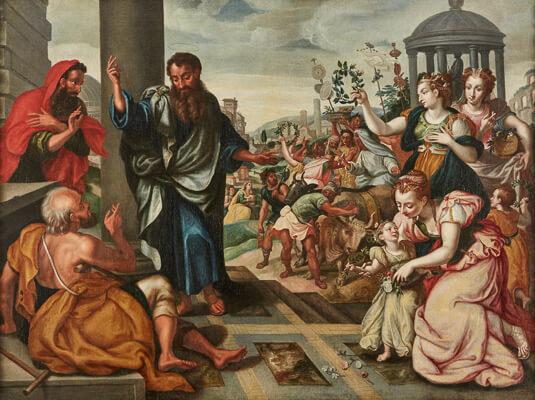 Marten de Vos, zugschrieben 1531 Antwerpen - 1603 Antwerpen Paulus und Barnabas vor dem Tempel Öl/Lwd.(doubl.), 106 x 141 cm