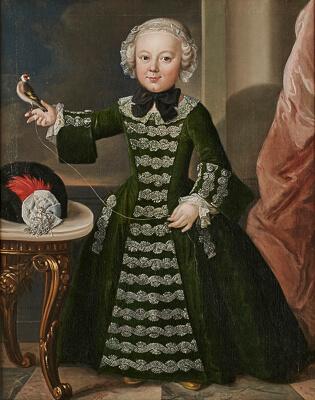 Gemälde Bildnismaler 18. Jh. Ganzfiguriges Bildnis einer jungen Adeligen einen Stieglitz an einer Schnur haltend Öl/Lwd. (doubliert), 91 x 72 cm Provenienz: Wiesbadener Privatsammlung.