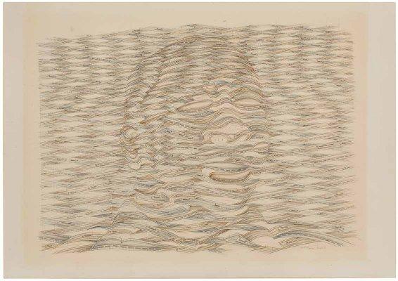 "Bleistiftzeichnung und Farbstift Thomas Bayrle geb. 1937 Berlin ""Los Angeles I"" 1975 u. r. sign., dat. u. bez. Bayrle 75 Los Angeles 44 x 62 cm, o. R. Provenienz: Galerie Meyer-Ellinger, Frankfurt 1976; Privatsammlung Frankfurt. Taxe € 1.900,-"