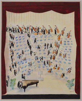 """Gouache u. Aquarell über Tuschfeder Jean-Jacques Sempé geb. 1932 Pessac (Gironde) """"Grand orchestre symphonique"""" u. re. sign. u. dat. Sempé 1985 verso Etikett mit dem Titel u. dat. 1985 sowie einer (Werk-) Nr. G 41/85 83 x 66,3 cm Provenienz: Seit d. 80er Jahren in einer Privatsammlung in Frankfurt am Main. Freiliegend gerahmt, farbfrisch, keine Defekte. Taxe € 12.000,-"""