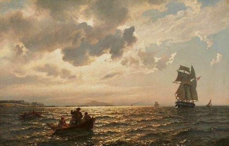 Hans Fredrik Gude, Küstenszene mit Segel- boot in Abendstimmung